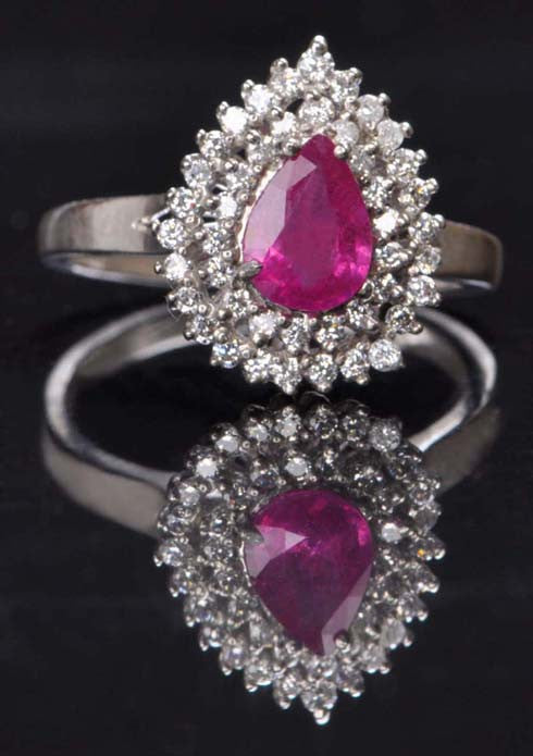 14KT SOLID GOLD 1.35 CARATS PEAR SHAPE REAL NATURAL PINK TOURMALINE & EGL CERTIFIED DIAMOND RING