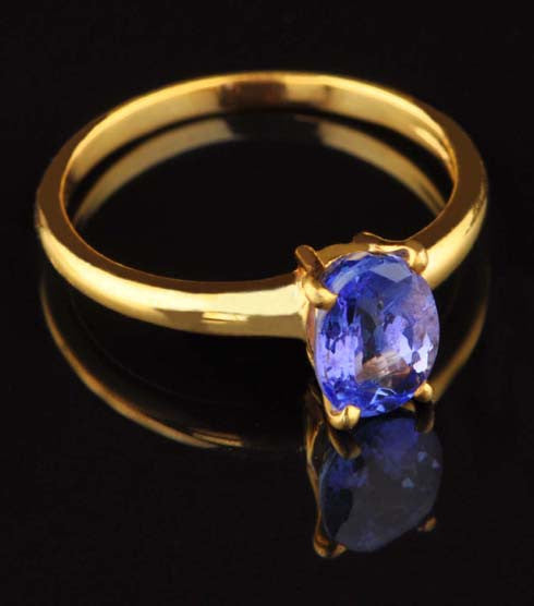 CERTIFIED 14KT SOLID GOLD 2.25 CARATS OVAL SHAPE 100% NATURAL BLUE TANZANITE RING