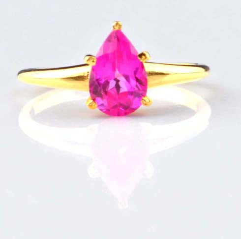 14K SOLID GOLD 1.25 CARATS 100 % NATURAL PINK TOURMALINE PEAR SHAPE RING WITH FREE CERTIFICATE