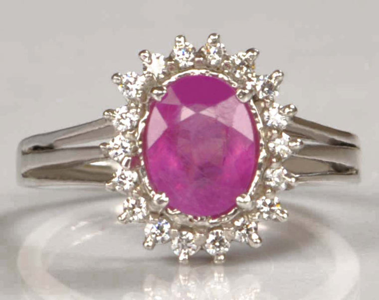 18KT SOLID GOLD 2.65 CARATS OVAL SHAPE REAL NATURAL PINK TOURMALINE & EGL CERTIFIED DIAMOND RING