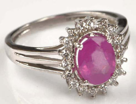 14KT SOLID GOLD 2.60 CARATS REAL NATURAL OVAL PINK TOURMALINE & EGL CERTIFIED DIAMOND RING