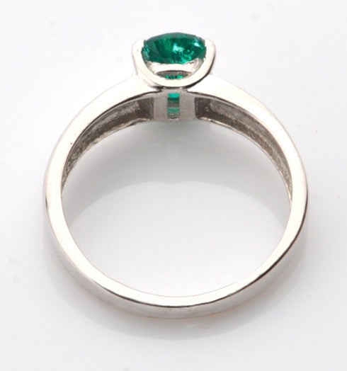 100% CERTIFIED 14KT SOLID GOLD 1.10 CARATS OVAL SHAPE NATURAL GREEN EMERALD RING