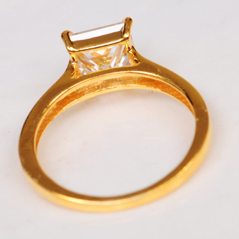 2.70 CARATS AWESOME PRINCESS SHAPE 14KT SOLID GOLD SOLITAIRE WOMEN'S RING