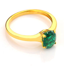 14KT SOLID GOLD 1.10 CARATS OVAL SHAPE REAL NATURAL GREEN EMERALD RING WITH FREE CERTIFICATE