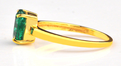 1.15 CARATS OVAL SHAPE 14KT SOLID GOLD 100% NATURAL GREEN EMERALD RING WITH FREE CERTIFICATE