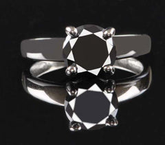 CERTIFIED 100% NATURAL BLACK DIAMOND ROUND SHAPE 1.30 CARATS 925 STERLING SILVER SOLITAIRE RING