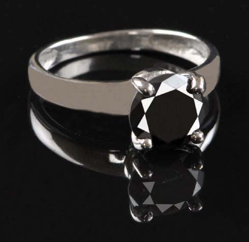 1.30 CARATS REAL 14KT SOLID GOLD ROUND SHAPE NATURAL BLACK DIAMOND SOLITAIRE RING WITH FREE CERTIFICATE