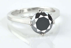 1.20 CARATS ROUND SHAPE 100% NATURAL BLACK DIAMOND 925 STERLING SILVER SOLITAIRE RING WITH FREE CERTIFICATE