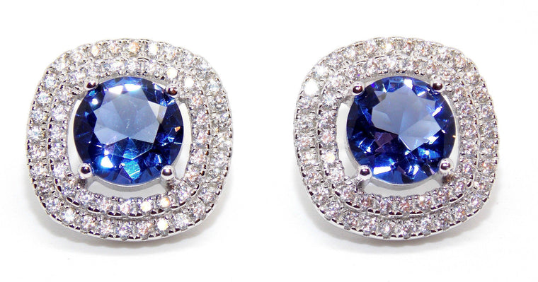 18KT SOLID GOLD 2.75 CARATS ROUND SHAPE REAL NATURAL BLUE TANZANITE & EGL CERTIFIED DIAMOND EARRINGS