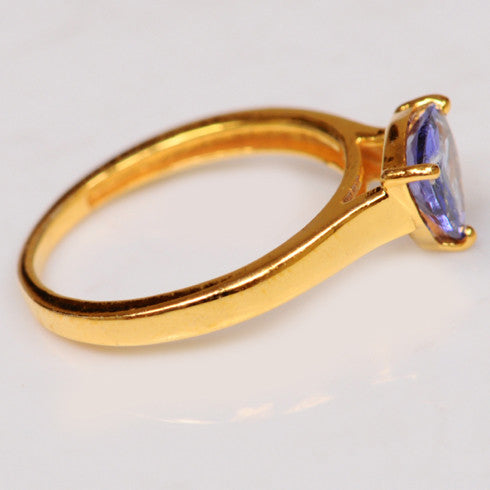14KT SOLID GOLD 1.50 CARATS TRILLION SHAPE NATURAL BLUE TANZANITE RING WITH FREE CERTIFICATE