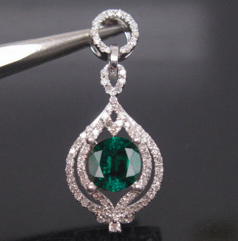 14KT SOLID GOLD 2.20 CARATS EGL CERTIFIED DIAMOND & ROUND SHAPE NATURAL GREEN EMERALD PENDANT