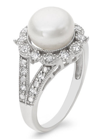 18KT SOLID GOLD 3.50 CARATS EGL CERTIFIED DIAMOND & ROUND SHAPE NATURAL FRESHWATER PEARL RING