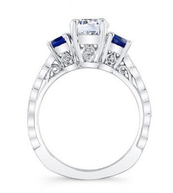 1.80 CARATS ROUND SHAPE INK BLUE & WHITE 925 STERLING SILVER SOLITAIRE WOMEN'S WEDDING SET
