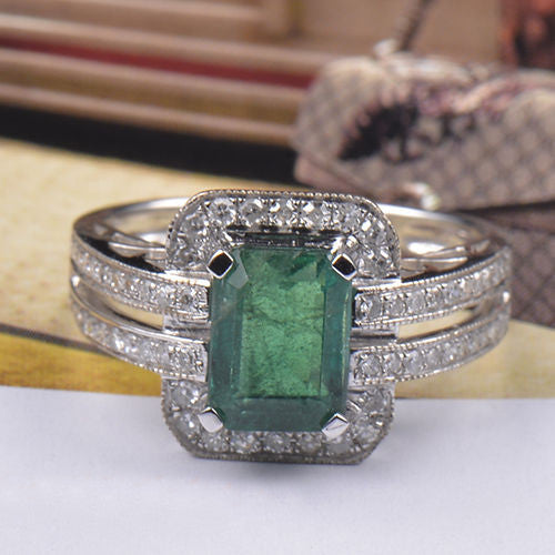 14KT SOLID GOLD 1.75 CARATS OCATGON SHAPE REAL NATURAL GREEN EMERALD & EGL CERTIFIED DIAMOND RING
