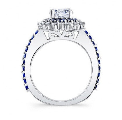 1.85 CARATS ROUND SHAPE INK BLUE & WHITE 925 STERLING SILVER SOLITAIRE WEDDING SET
