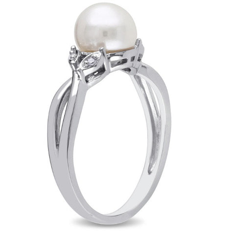 REAL 18KT SOLID GOLD 3.35 CARATS EGL CERTIFIED DIAMOND & ROUND SHAPE NATURAL FRESHWATER PEARL RING