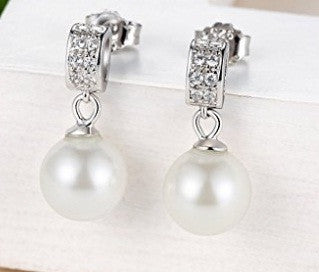 18KT SOLID GOLD ROUND SHAPE 2.65 CARATS REAL NATURAL DIAMOND & FRESHWATER PEARL EGL CERTIFIED DIAMOND EARRINGS