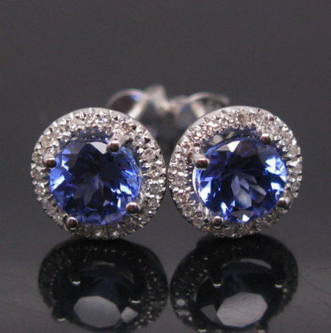 2.65 CARATS ROUND SHAPE 18KT SOLID GOLD REAL NATURAL BLUE TANZANITE & EGL CERTIFIED DIAMOND EARRINGS