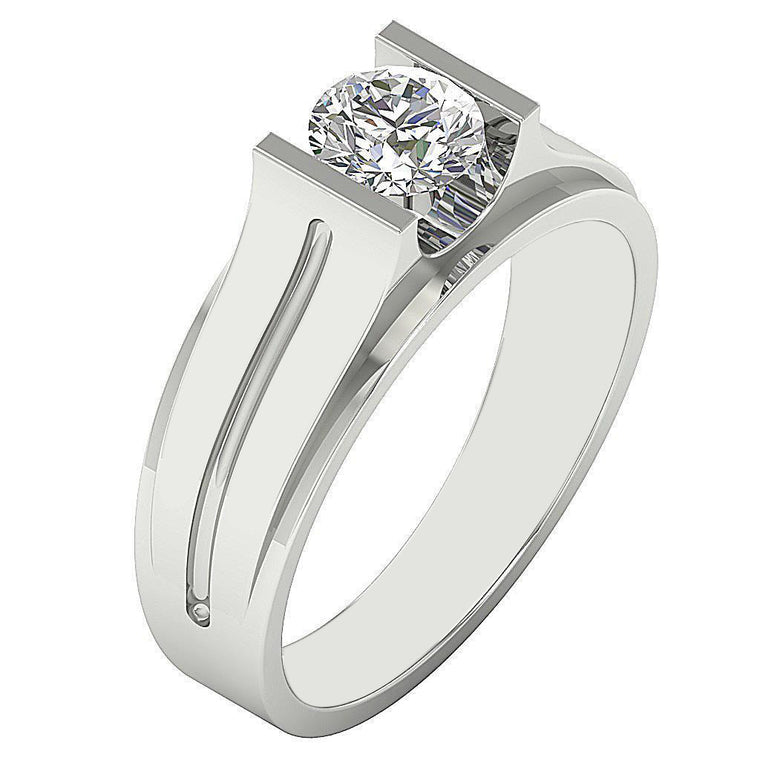 1.90 CARATS WONDERFUL ROUND SHAPE REAL 18KT SOLID GOLD SOLITAIRE ENGAGEMENT MEN'S RING