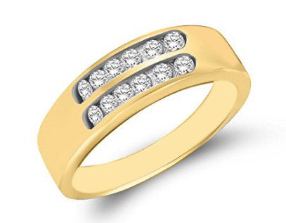IGI CERTIFIED 100% NATURAL WHITE DIAMOND 0.12CT. 14KT SOLID GOLD ROUND SHAPE MEN'S BAND