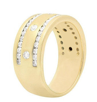 IGI CERTIFIED NATURAL WHITE DIAMOND 0.38CT. ROUND SHAPE 18KT SOLID GOLD MEN'S BAND