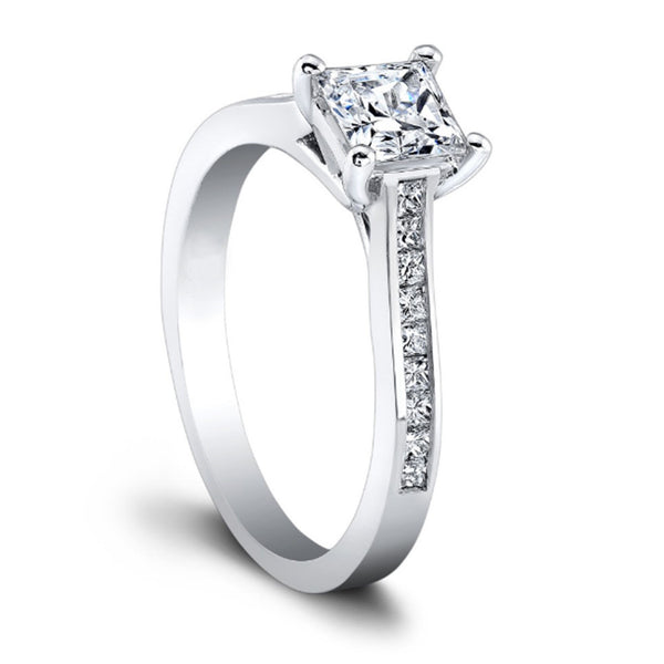 14KT SOLID GOLD 1.00 CARATS STUNNING PRINCESS CUT SOLITAIRE ENGAGEMENT RING SET