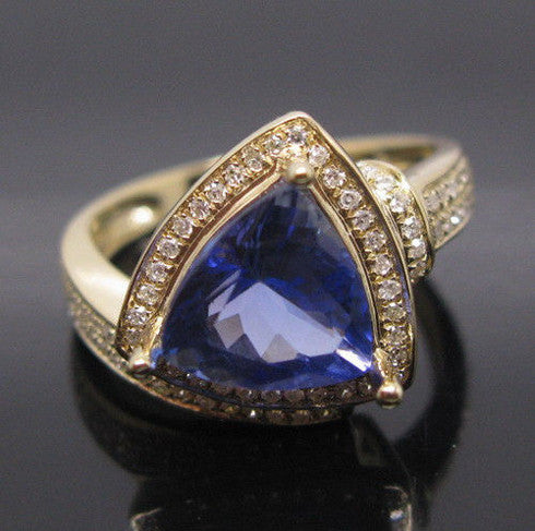 2.10 CARATS TRILLION SHAPE 14KT SOLID GOLD REAL NATURAL BLUE TANZANITE & EGL CERTIFIED DIAMOND RING