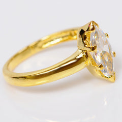 14KT SOLID GOLD 2.60 CARATS GRACEFUL MARQUISE SHAPE SOLITAIRE WEDDING RING