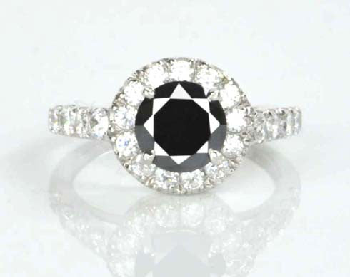 14KT SOLID GOLD 1.85 CARATS ROUND SHAPE REAL NATURAL BLACK & WHITE DIAMOND EGL CERTIFIED RING