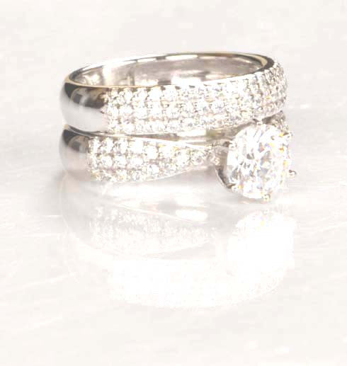 3.50 CARATS AMAZING ROUND SHAPE 14KT SOLID GOLD SOLITAIRE WEDDING SET