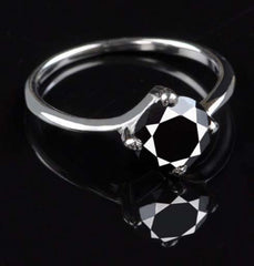 CERTIFIED 100% NATURAL BLACK DIAMOND BRILLIANT ROUND CUT 1.30 CARATS 925 STERLING SILVER SOLITAIRE RING