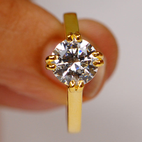 2.30 CARATS CHARMING ROUND SHAPE 14KT SOLID GOLD SOLITAIRE WOMEN'S RING