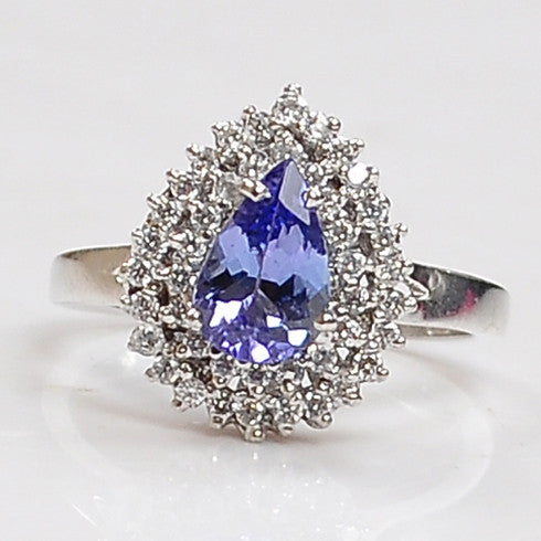 Copy of 1.45 CARATS PEAR SHAPE 14KT SOLID GOLD REAL NATURAL BLUE TANZANITE & EGL CERTIFIED DIAMOND RING