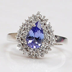 1.45 CARATS PEAR SHAPE 14KT SOLID GOLD REAL NATURAL BLUE TANZANITE & EGL CERTIFIED DIAMOND RING