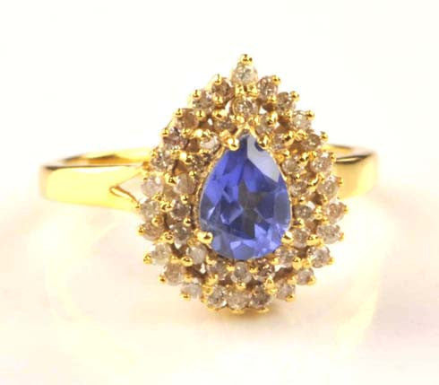 14KT SOLID GOLD 1.50 CARATS PEAR SHAPE 100% REAL NATURAL BLUE TANZANITE & EGL CERTIFIED DIAMOND RING