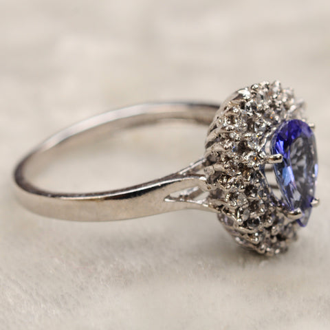 1.60 CARATS 18KT SOLID GOLD PEAR SHAPE NATURAL BLUE TANZANITE & IGI CERTIFIED DIAMOND RING