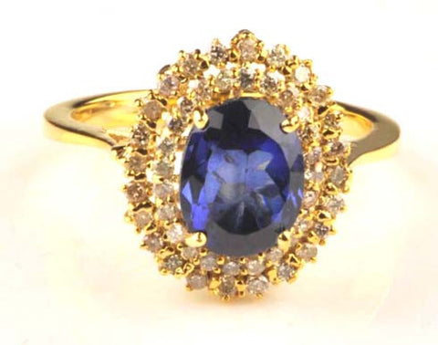 14KT SOLID GOLD 2.40 CARATS OVAL SHAPE REAL NATURAL BLUE TANZANITE & EGL CERTIFIED DIAMOND RING