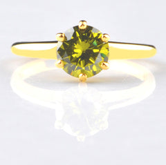14KT SOLID GOLD 2.45 CARATS AMAZING ROUND SHAPE YELLOWISH GREEN SOLITAIRE RING