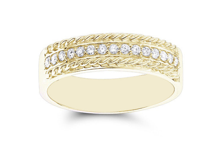 0.23CT ROUND SHAPE REAL 18KT SOLID GOLD NATURAL WHITE DIAMOND IGI CERTIFIED MEN'S BAND