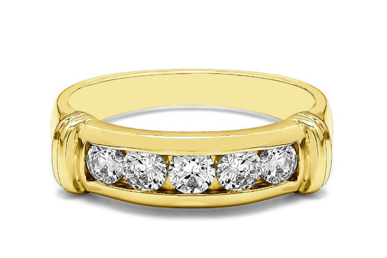 IGI CERTIFIED 100% NATURAL WHITE DIAMOND 0.18CT. ROUND SHAPE 18KT SOLID GOLD WEDDING MEN'S BAND