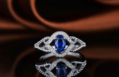 14KT SOLID GOLD 1.75 CARATS EGL CERTIFIED DIAMOND & OVAL SHAPE NATURAL BLUE TANZANITE RING