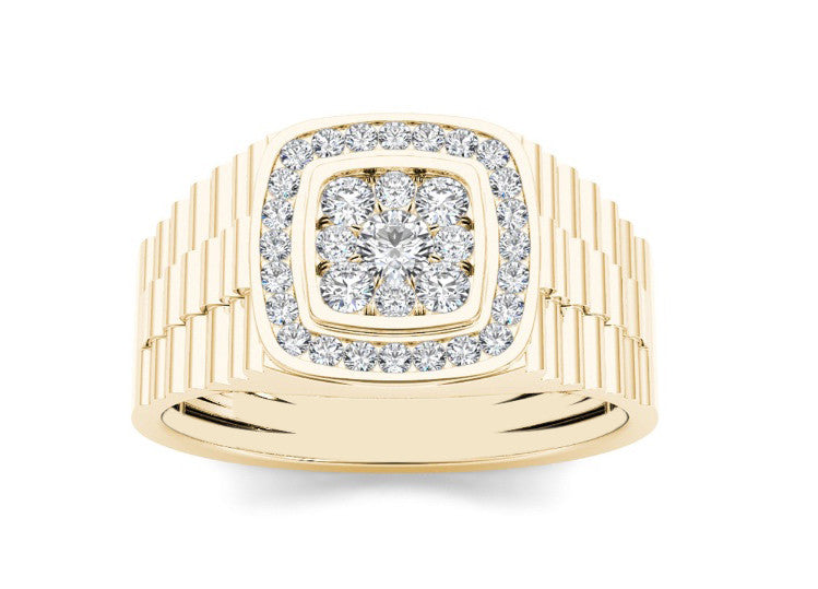 IGI CERTIFIED 100% NATURAL WHITE DIAMOND ROUND SHAPE 0.42CT. 18KT SOLID GOLD MEN'S WEDDING RING