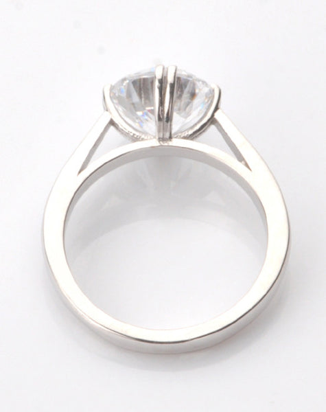 2.60 CARATS GOOD LOOKING ROUND CUT 925 STERLING SILVER SOLITAIRE WOMEN'S RING