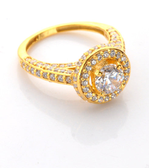4.20 CARATS GORGEOUS ROUND SHAPE 14KT SOLID GOLD SOLITAIRE WITH ACCENTS RING