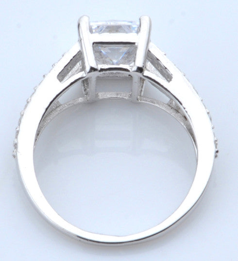 3.20 CARATS FANCY SHAPE 925 STERLING SILVER SOLITAIRE WEDDING & ENGAGEMENT RING