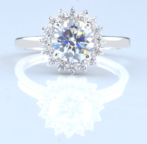 2.50 CARATS ROUND SHAPE 925 STERLING SILVER SOLITAIRE WITH ACCENTS ENGAGEMENT RING