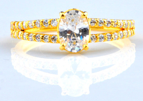 1.90 CARATS MARVELOUS OVAL SHAPE 14KT SOLID GOLD SOLITAIRE WITH ACCENTS WOMEN'S RING