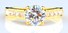 14KT SOLID GOLD AWESOME ROUND SHAPE 2.60 CARATS SOLITAIRE WEDDING RING