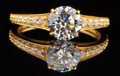 14KT SOLID GOLD 2.35 CARATS AMAZING ROUND SHAPE SOLITAIRE ENGAGEMENT RING