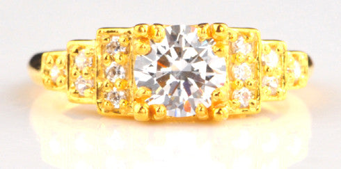 14KT SOLID GOLD 2.10 CARATS ROUND SHAPE SOLITAIRE WITH ACCENTS RING